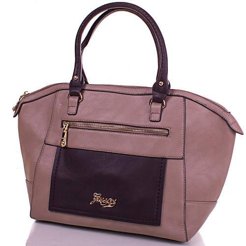Надежная женская сумка из кожезаменителя GUSSACI (ГУССАЧИ) TUGUS13E064-1-9  (серый)
