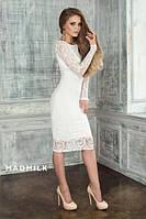 Короткое гипюровое платье с длинным рукавом