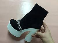Ботинки демисезонные женские из замши на толстом каблуке AL0022