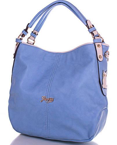 Вместительная женская сумка из кожезаменителя GUSSACI (ГУССАЧИ) TUGUS13J031-2-5 (голубой)