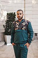 Мужской спортивный костюм. Брюки на резинке, кофта с капюшоном, с кнопками до линии груди