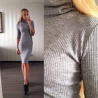 Платье гольф рубчик с коротким рукавом АН 82579