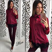 Рубашка женская с кружевом шелк в разных цветах 2SRmil162