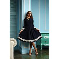Платье  миди с кружевными вставками на рукавах и по низу юбки