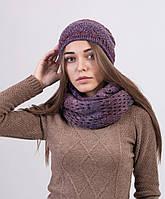 Красивый женский комплект из шапки и шарфа хомута
