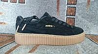 Кроссовки Пума распродажа лучшая цена риана криперс PUMA Rihanna Suede Creeper 36 размер черные натуральная за