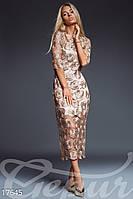 Роскошное гипюровое женское платье миди прямого фасона декорировано тканными розами