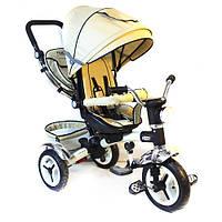Детский трехколесный велосипед с ручкой Turbo Trike M 3199-7НА (Бежевый)