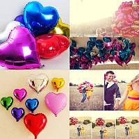 """Большой воздушный шар из фольги """"Сердце"""" (цвет: фуксия) 5 шт."""