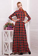 Длинное клетчатое женское платье из французского трикотажа красного цвета
