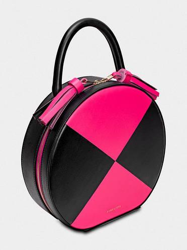 Шикарная круглая сумка с короткой ручкой, натуральная кожа TONDO Fidelitti 019/0-530/T черный/малиновый