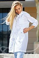 Стильный легкий женский плащ на кнопках с капюшоном и модным принтом на спине плащевка