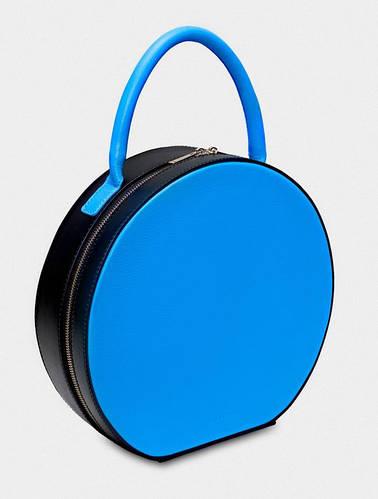 Креативная круглая сумка с короткой ручкой, натуральная кожа TONDO Fidelitti 019/660-0/Lu-T черный/синий