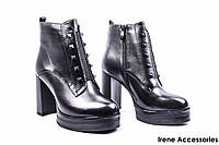 Ботильоны женские кожаные Angelo Vani (ботинки высокий каблук, стильные, байка с 35р)