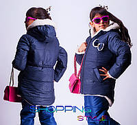 Детская зимняя куртка для девочки Бантик пятнышки