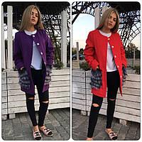 Пальто с карманами из экомеха кашемир на подкладке разные цвета SRm166