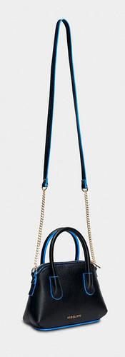 Красивая сумка-клатч с ручкой и ремешком, натуральная кожа BRILLA Fidelitti 037/0/Lu чёрный/синий