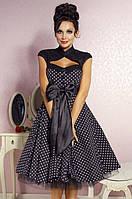 Короткое платье миди в горошек с подьюбником из фатина