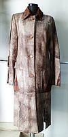 Френч кожаный с отделкой пони-стильный длина 120см 48р.ОГ 96 ОБ 100