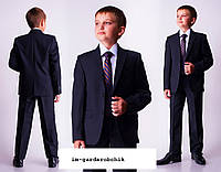 Костюм на мальчика черный с синим отливом брюки и пиджак  размеры 122 128 134 140 146 152 158 164 170 176