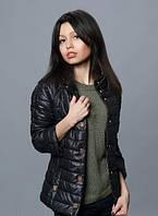 Стильная женская куртка с рукавом 3/4 черного цвета