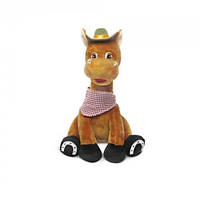 Детская мягкая игрушка Конь-Ковбой сидящий музыкальная 23см Lava