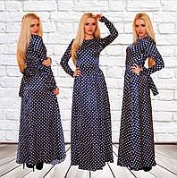 """Атласное макси-платье в горошек """"Вероника"""" с длинным рукавом (4 цвета)"""