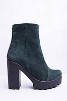 Осенние женские замшевые ботинки  на каблуке