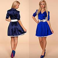 Женское платье с воротником на запах и короткой пышной юбкой с поясом