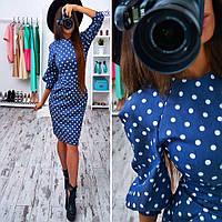 Женское платье футляр  Лариса джинс темно-синий в белый горох крупный, L