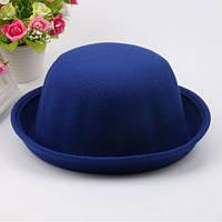 Шляпа женская  фетровая котелок синяя
