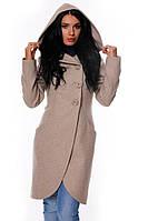 Кашемировое пальто с фигурным низом, на пуговицах, с капюшоном