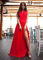 Элегантное платье с эффектом запаха длинное в пол