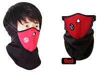 Зимняя теплая маска для лица, лыжная, сноуборда (красная)