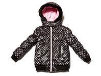 Стильная куртка для девочки черная в горох