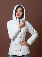 Оригинальная белая утепленная женская куртка