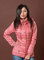 Симпатичная розовая утепленная женская куртка