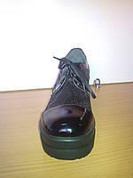 Женские осенние кожаные туфли на шнурках и платформе