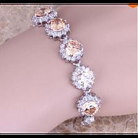 Серебряный женский браслет с морганитом