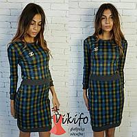 Короткое женское платье в клетку фа-810