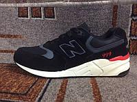 Мужские подростковые кроссовки New Balance  нью баланс замша черные на белой подошве