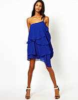 Платье ультрамаринового цвета с воланами AB90194