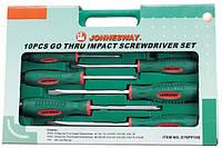 Набор отверток ударных, силовые под ключ, шлиц и крест, 10 предметов JONNESWAY (D70PP10S)