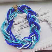 Колье женское Симона голубое , украшения на шею