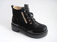 Модные детские/подростковые демисезонные ботинки для девочек на тракторной подошве, р.32-37