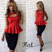 Женское стильное платье с коротким рукавом, приталенное (3 цвета)