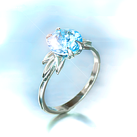 """Серебряное кольцо """"Кристалл"""" с натуральным топазом"""