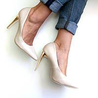 Туфли женские на шпильке Lady Star бежевый лак,