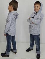 Модная детская трикотажная кофта-парка цвет серый