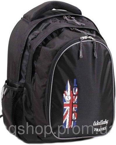 Школьный рюкзак с ортопедической спинкой 20 л. Wallaby, 120 черный